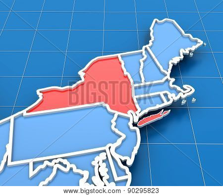 3d render of USA map with New York state highlighted