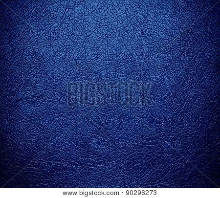 Cyan cobalt blue color leather texture background