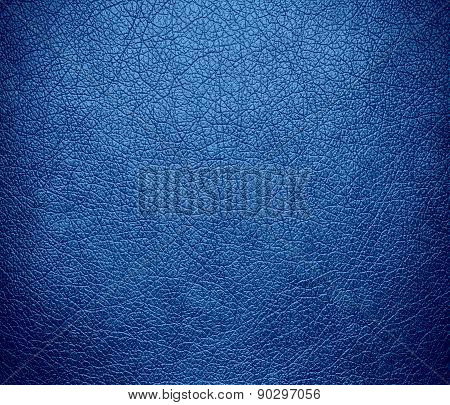 Cyan-blue azure color leather texture background
