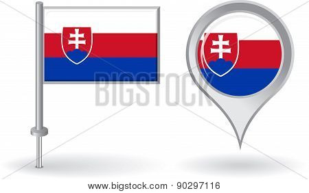 Slovak pin icon and map pointer flag. Vector