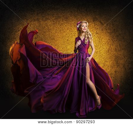 Model Purple Dress, Woman Posing Flying Silk Cloth Waving, Beauty Fashion Portrait