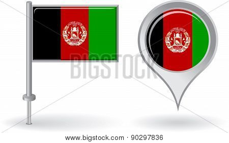 Afghanistan pin icon and map pointer flag. Vector