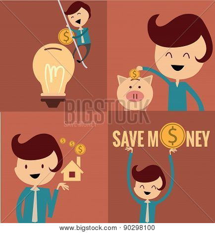 Vector piggy bank concept, money savings set