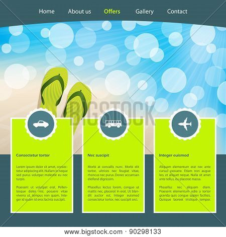 Tourism Homepage Template For Seashore Vacations