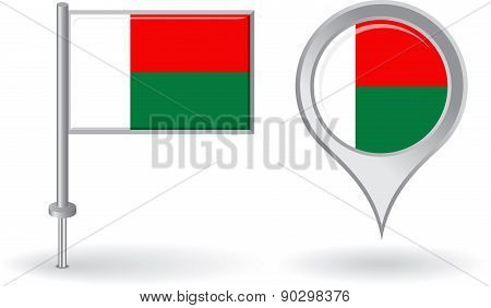Madagascar pin icon and map pointer flag. Vector