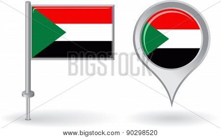Sudanese pin icon and map pointer flag. Vector