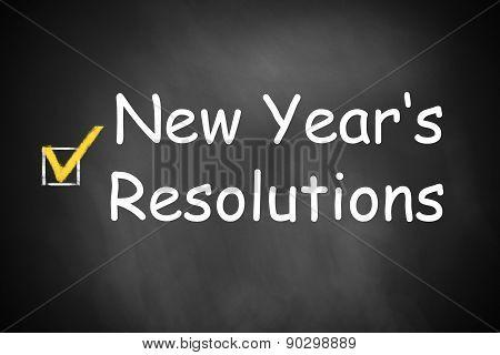 New Year's Resolutions Written On Black Chalkboard Checkbox