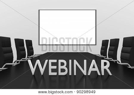 Webinar Logo Standing On Desk Conference Room Whiteboard