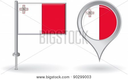 Maltese pin icon and map pointer flag. Vector