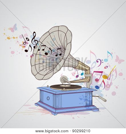Music Background With Gramophone And Notes.