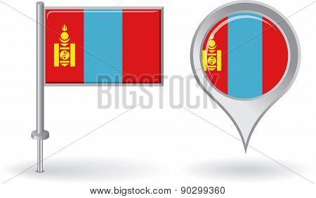 Mongolian pin icon and map pointer flag. Vector