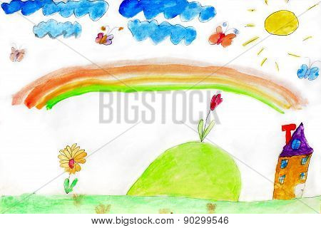 Children's Drawing Of Flowers And Rainbow
