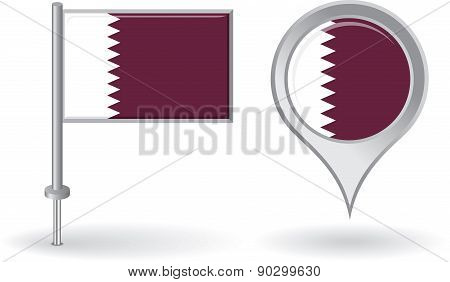 Qatari pin icon and map pointer flag. Vector