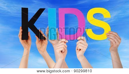 Hands Holding Colorful Straight Word Kids Blue Sky