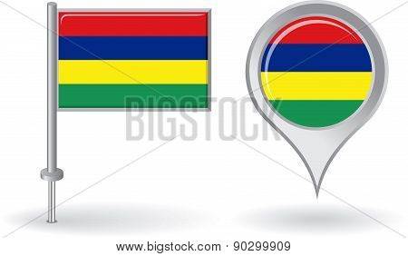 Mauritius pin icon and map pointer flag. Vector