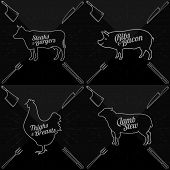 foto of lamb shanks  - Vector illustration of beef pork lamb and chicken and cooking tools - JPG