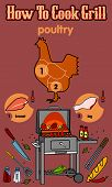 pic of barbecue grill  - Vector illustration of the grill and barbecue beef pork and chicken grilled image ovens barbecue tools and vegetables - JPG