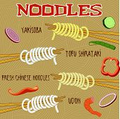 stock photo of noodles  - Japanese and Chinese traditional noodles - JPG