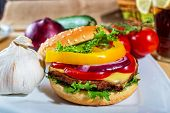 foto of hamburger-steak  - homemade hamburger with fresh vegetables close up - JPG