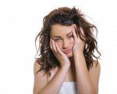 stock photo of sleepy  - Sleepy or drowsy young girl isolated on white - JPG