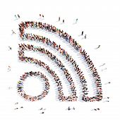 picture of fi  - Large group of people in the shape of a Wi Fi - JPG