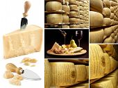 image of meals wheels  - collection of parmesan and wheels of cheese in a factory - JPG