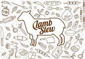 image of lamb shanks  - Vector illustration of beef pork lamb and chicken vegetables image bread drinks and cooking tools - JPG