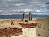 image of tibetan  - Tibetan house roof - JPG