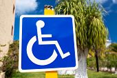 foto of handicap  - Blue handicapped sign with wheelchair at tropical street - JPG