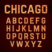 picture of sign board  - Broadway style light bulb alphabet - JPG