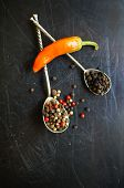 picture of peppercorns  - closeup green chilli peppers and different types of peppercorns - JPG