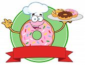 picture of donut  - Chef Pink Donut Cartoon Character Serving Donuts Circle Label - JPG