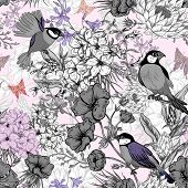stock photo of hydrangea  - Retro Summer Seamless Monochrome Floral Pattern with Birds and Butterflies - JPG