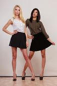 picture of short skirt  - Two young women caucasian and african in trendy short black skirts posing in full length studio portrait on gray - JPG