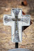 stock photo of rosary  - Close up of home made Catholic grave marker with rosary - JPG