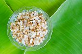 picture of ant  - Red ant egg on banana leaf - JPG