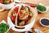 picture of tacos  - big mexican taco served with soup - JPG