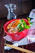 picture of rice noodles  - rice noodles with meat and vegetables in bowl - JPG