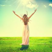 image of grassland  - Beauty Girl enjoying nature on the field - JPG