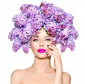 picture of makeover  - Beauty fashion model Girl with Lilac Flowers Hair Style - JPG