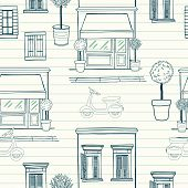 picture of tree lined street  - Hand drawn seamless pattern with sketchy shop on the ground floor potted trees different windows with shutters and old school scooter on the street - JPG