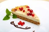 stock photo of cheesecake  - Cheesecake with berries and fresh mint branch - JPG