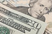 pic of twenty dollars  - Macro detail of a 20 dollar bill - JPG