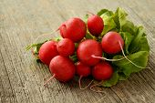 pic of bundle  - Bundle of radishes on a wooden table - JPG