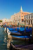 stock photo of gondola  - Gondolas boats and Doge palace - JPG