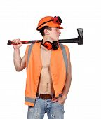 foto of ax  - worker man with ax on a white background - JPG