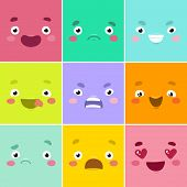 stock photo of emotions faces  - Cartoon faces - JPG