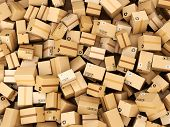 pic of warehouse  - Stack of cardboard delivery boxes or parcels - JPG
