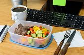 picture of lunch box  - homemade lunch box at modern stylish work place - JPG