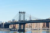 foto of brooklyn bridge  - Manhattan Bridge and skyline view from Brooklyn Bridge in New York City - JPG